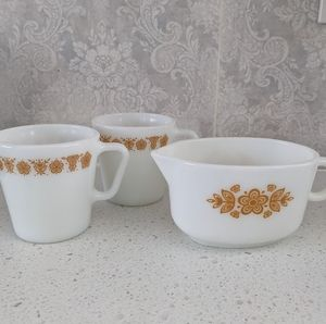 Pyrex Vintage Butterfly Gold Mugs and Creamer Set